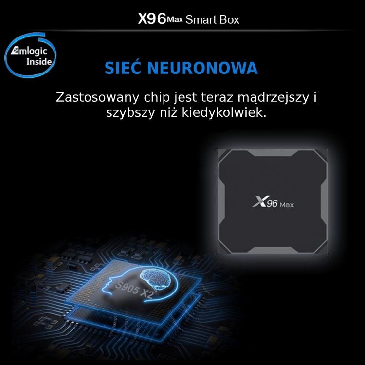 SMART TV BOX X96 MAX 4K UHD ANDROID 8.1 4GB LDDR5 64GB HDD Z PILOTEM CZARNY - Przystawki Smart TV