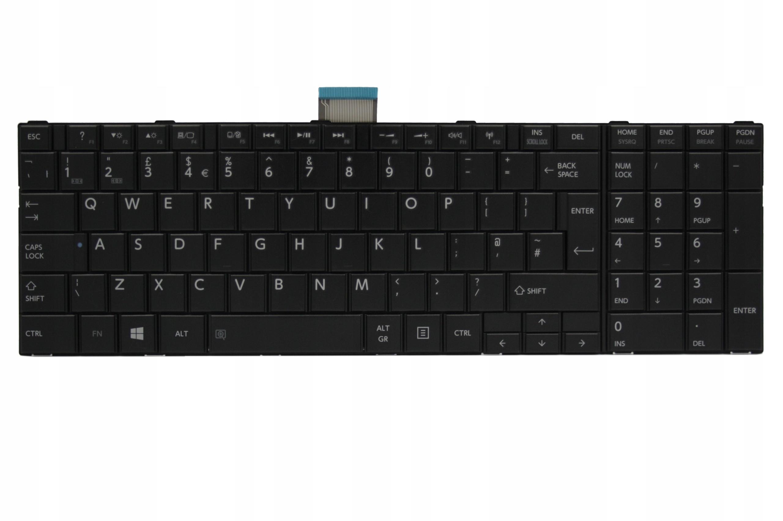 KLAWIATURA TOSHIBA C850-1C4 1C4 12R C850-12R UK MAT CZARNA - Klawiatury do laptopów